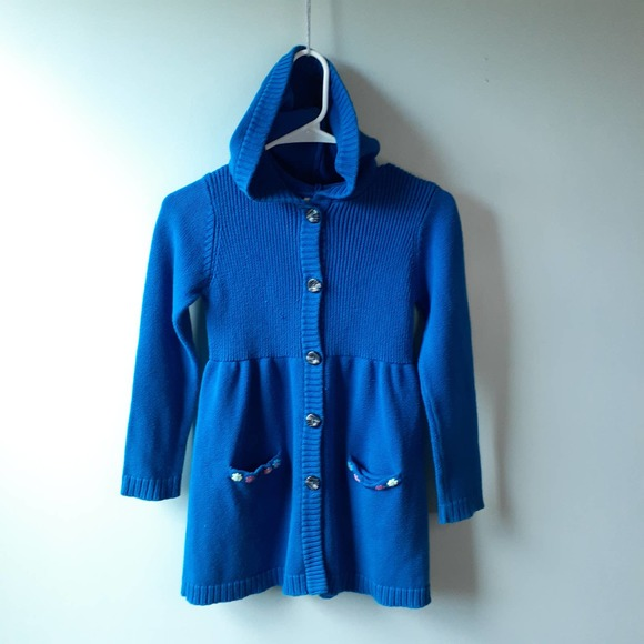 Hanna Andersson Blue Hooded Cardigan Sweater